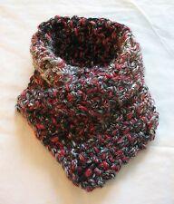 Womens Crochet Knit Neck Warmer Cowl Handcrafted w/ Lion Red Black & Gray Yarn 3