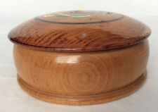 Small ~ Hand Carved Painted Round Wood Trinket Box