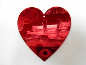 Heart Shaped Acrylic Red Mirrors, 3mm thick,10cm x 5, with hole.