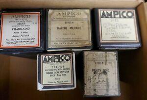 5 Ampico Player piano Rolls