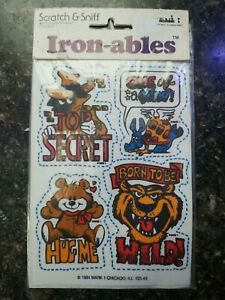 Vintage Scratch & Sniff Iron-ables - Colorful, Fun 4 transfers - 1984 - NIP USA