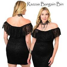 New Sexy Black Off The Shoulder Dress Plus Size 14/1XL (1337)NK