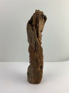 """VINTAGE 15"""" HAND CARVED WOOD MALE  FEMAL FACE TREE Uniquely Detailed DoubleSided"""