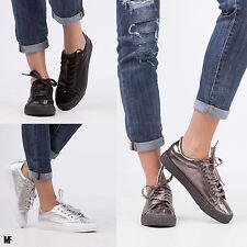 scarpe ginnastica donna stringate lucide sneakers LACCI palestra fitness GF-82