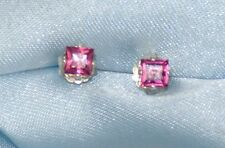 3.0MM PRINCESS CUT RASPBERRY PINK AFRICIAN RHODOLITE GARNET .925 STERLING STUDS
