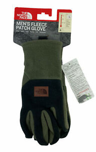 NEW The North Face Fleece Patch Winter Gloves UR Powered Green Black Mens Size L
