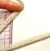 6mm Cream and Gold Gimp Corded Braid Narrow Trim Cotton Lurex Per 2 Mtrs