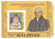 (13646) Maldives MNH IMPERFORATE Princess of Wales OVERPRINT minisheet 1982