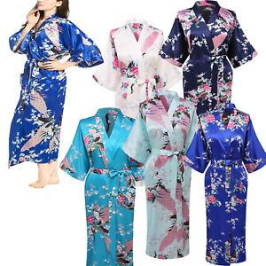 Elegant Long Floral Silk Kimono Womens Robe, Sizes 2 to 18, Ankle Length
