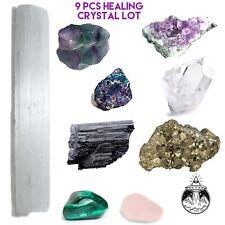 9 Pcs Healing Crystal Lot Tourmaline Amethyst Quartz Fluorite Pyrite Selenite