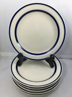 "6 Sango Orbit Stoneware 223 Blue Stripe 7 3/4"" Salad Plates"