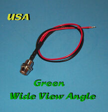 LED - 5mm PRE WIRED 12V WITH CHROME BEZEL ~ WIDE GREEN ~