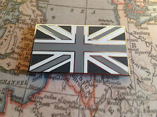 UNION JACK GB CAR BADGE FLAG WITH 3M S/A JAGUAR LAND ROVER TVR MG BLACK