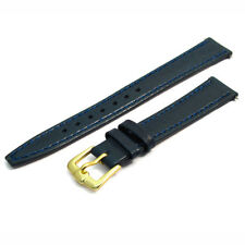 Smooth grain watch strap genuine leather band 14mm blue g D020