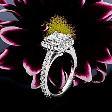1.90CT PRINCESS CUT DIAMOND HALO BRIDAL ENGAGEMENT RING 14K WHITE GOLD ENHANCED
