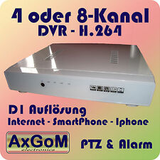 4- oder 8-Kanal DVR in weiß - H.264 - D1-Auflösung - PTZ+Alarm- IPhone+Internet