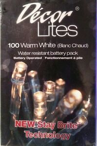 CHRISTMAS BATTERY POWERED LED LIGHTS 100 LEDS 11 METERS LENGTH DECOR LITES