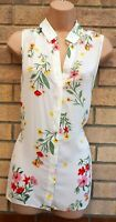 DOROTHY PERKINS WHITE FLORAL GREEN YELLOW SLEEVELESS BAGGY T SHIRT TOP BLOUSE 14
