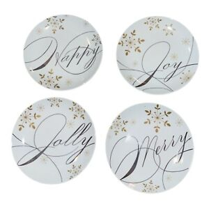 """Pier 1 Imports HOLIDAY WISHES Appetizer Plates 6""""  Set Of Four White Silver Gold"""