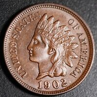 1902 INDIAN HEAD CENT -With LIBERTY & Near 4 DIAMONDS - AU UNC