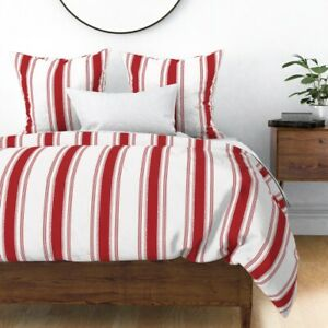 French Stripes Modern Farmhouse Red Striped Sateen Duvet Cover by Roostery