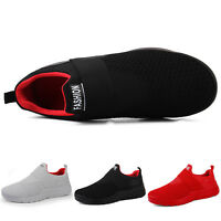 Mens Athletic Walking Running Sneakers Breathable Mesh Shoes Comfy Slip On Flats