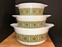 VINTAGE PYREX Floral Butterfly Bowl Casserole Dish Set Round 475 B Ovenware gold