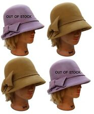 WHOLESALE 12 PCS 100% Wool Women Church Wedding Formal Fedora Hat - Beige Only