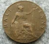 GREAT BRITAIN GEORGE V 1917 HALF 1/2 PENNY HALFPENNY