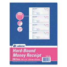Adams TOPS 3-Part Hardbound Receipt Book, 7 x 2 3/4, Carbonless, 200 Sets/Book