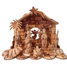 13 Pc Top Grade Olive Wood Nativity Set with Guardian Angel - Large