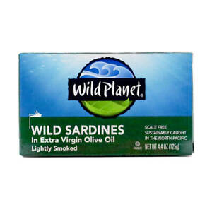 New Wild Planet Wild Sardines in Extra Virgin Olive Oil Organic 4.4 oz