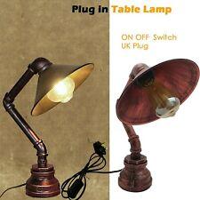 Vintage Industrial Style Steampunk Steel Water Pipe Desk Table Lamp Table Lights