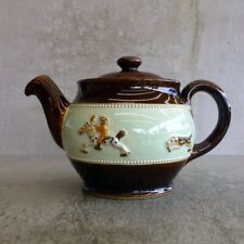 Art Deco Bourne Denby Derby Pottery Teapot 500ml Fox Hunting Scene England 1930