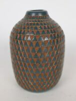 Miguel Angel Calero Signed Geometric Relief Small Clay Pottery Vase Nicaragua 07