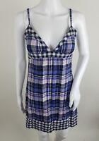 Mossimo Juniors Dress Size Small Blue Plaid Sleeveless