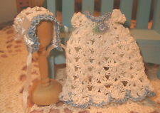 Miniature Doll Dress Gown fits 2 1/2 size Doll with Bonnet Lovely