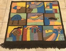 NELLY tag Primitive Folk Art  Hook Rug Picture Wall Art Turtle Cat Fish Throw
