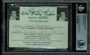 Elvis Presley Signed 2.4x3.5 1961 Elvis Presley Tankers Membership Card BAS Slab