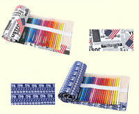36/48/72 Holes Canvas Wrap Roll Up Pencil Bag Pen Case Holder Storage Pouch FG