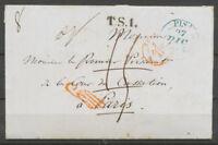 1844 Lettre de Pise Italie taxée puis Franchise à détaxer, + griffe Rge  P5184