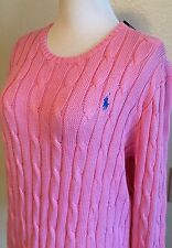 Polo Ralph Lauren Women's New 4072 Cable Knit Crewneck Sweater Pink Size XL