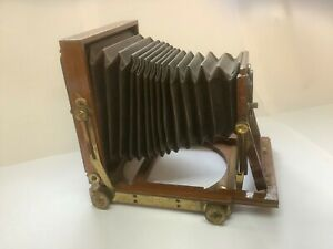 Vintage Mahogany/Brass Folding Quarter Plate Camera with 3 Darkslides -No Lens
