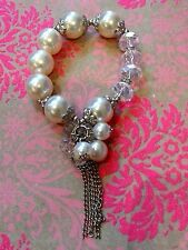 Large White Pearl Faceted Clear Crystals Silver Beads Stretch Bracelet Tassel