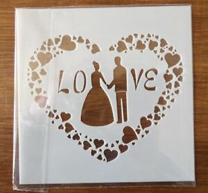 LOVE WEDDING STENCIL 130mm x 130mm