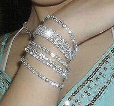 5pcs/Set Vintage Womens Crystal Cuff Bracelet White Gold Punk Style Bangle