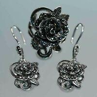 Women Fashion 925 Silver Jewelry Vintage Black Flowers Dangle Drop Earrings