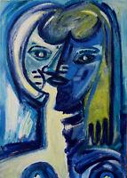 Bild*50x70*Frau*Katze*Abstrakt*Öl*Leinwand*Porträt*Erotik*Handgemalt*Unikat*Mode
