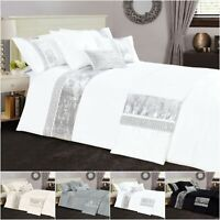 Luxury Sparkle Band Duvet Quilt Cover Double King Size Diamante Bedding Bed Set