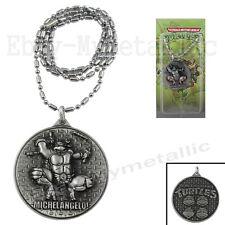 Teenage Mutant Ninja Turtles Michelangelo Shield Pendant Necklace Silver NIB #3